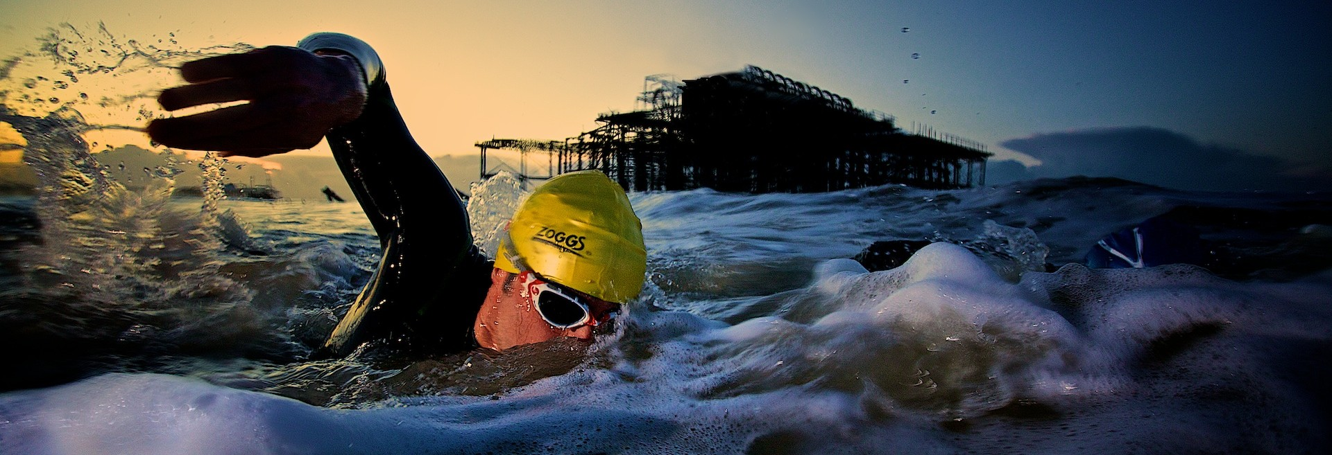 Ollie Armfield and team sea swimming, January 2012. Brighton, west pier