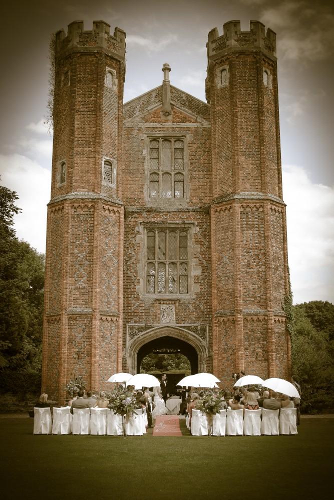 Wedding Photographer, Leez Priory, Outside Ceremony