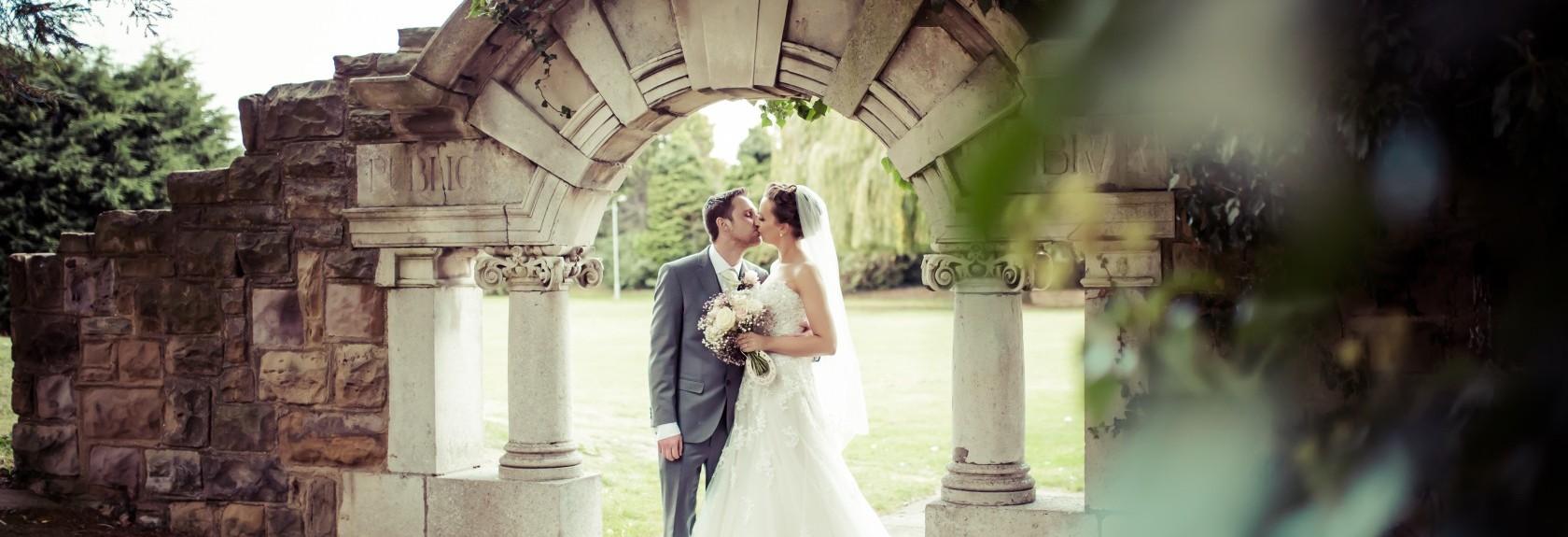 Bride and groom, wedding kiss
