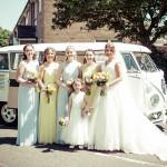 Bridal party, bridesmaids, camper van