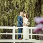 Wedding couple, bridge photo, High House, Essex