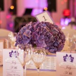 Wedding table setting, purple centre piece