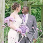 Wedding couple, hidden garden, purple flowers