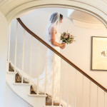 Bride with bouquet, Stairs, Fennes