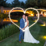 Sparkler Heart, La Talbooth, Wedding Couple