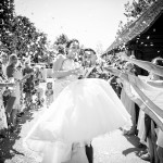 Wedding couple, confetti shower