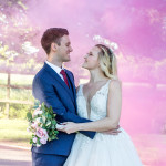 Wedding couple, pink flare