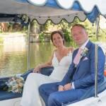 Wedding couple, boat ride