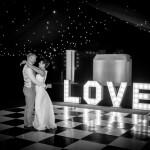 Wedding dance, first dance, love light letters