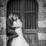 Wedding couple, church doorway
