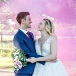 Wedding couple, pink smoke