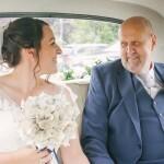 Father and bride, wedding car