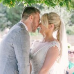 Wedding kiss, bride and grrom