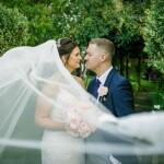 Wedding portrait, dramatic veil
